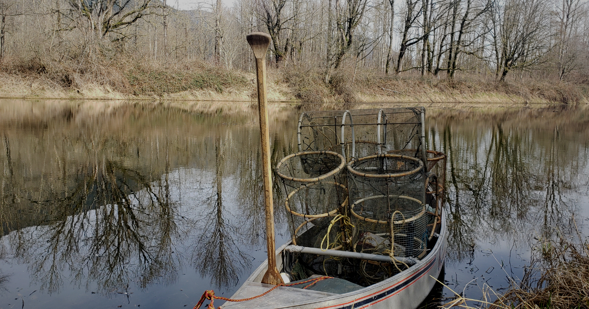 canoe filled with traps