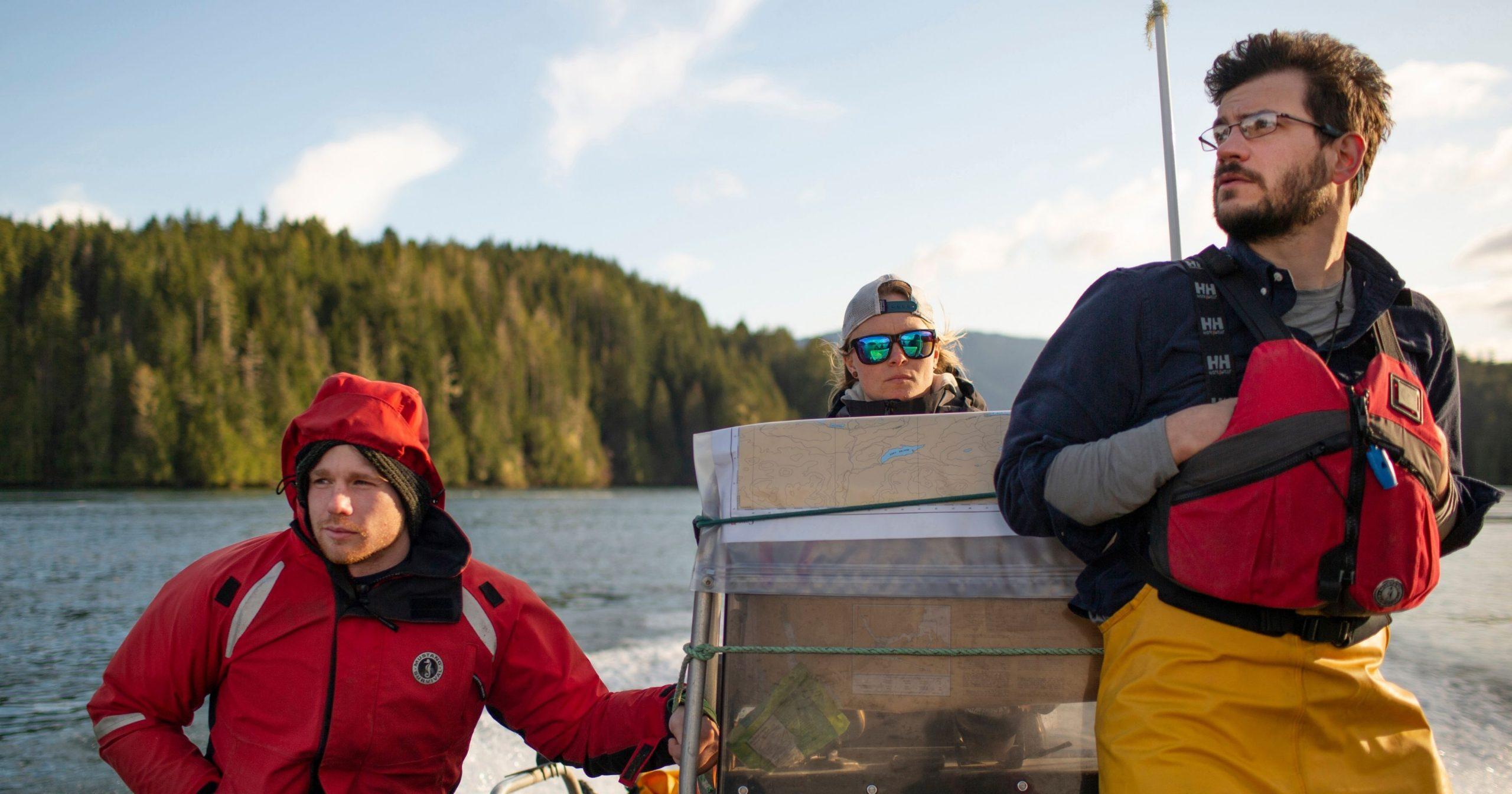 Researchers in a boat