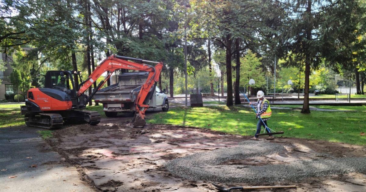 Breaking ground on new rain garden