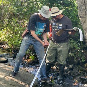 Gerald Harris and a fellow streamkeeper working at Bowker Creek